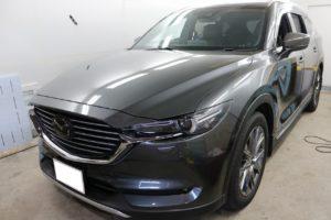 新車MAZDA CX-8にグロスカーボンラッピング 江東区
