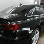 新車で入庫した新型アウディA4Avantにボディコーティング,ウィンドウコート,ホイールコートなどのオプション多数を施工させていただきました。