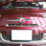 神奈川県横浜市からお越しのアバルト695に幌専用コーティングを施工しました。