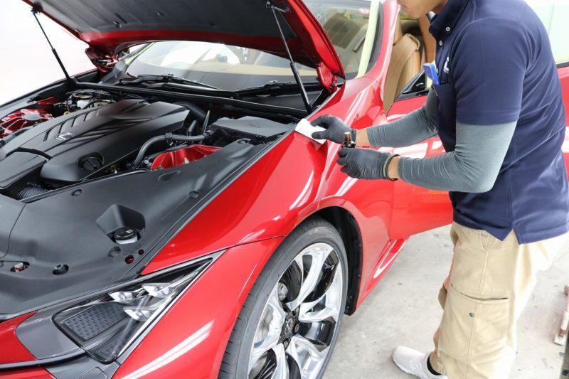 新車レクサスLC500にカーコーティング施工 コーティング塗布の画像