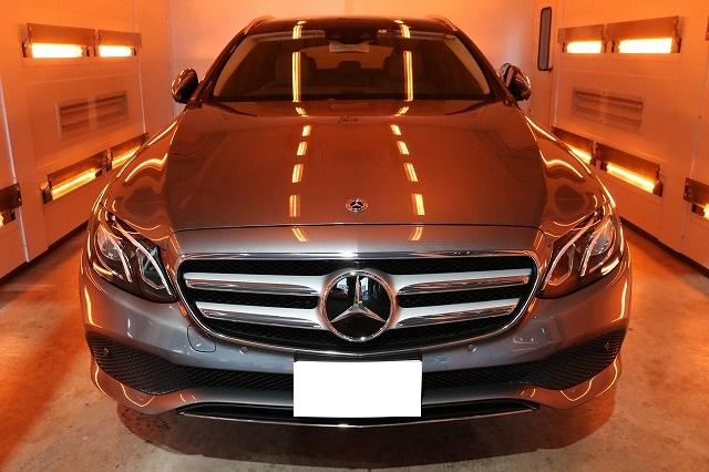 ガラスコーティングを新車メルセデスベンツE220Dに施工 コーティング焼き付け画像