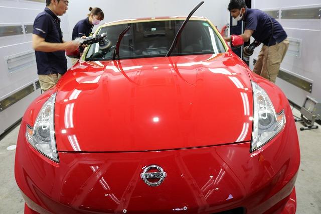 日産フェアレディZ34ニスモにセラミックコーティング施工 窓研磨作業の画像