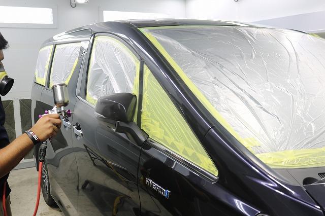 トヨタヴェルファイア クォーツガラスコーティング施工画像