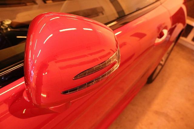 メルセデスベンツSL400にセラミックプロ9H施工 ミラー焼き付け画像