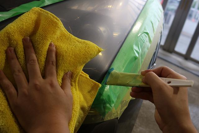 日産GTRにヘッドライトコート施工の画像