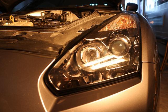 日産GTRにヘッドライトコート施工 焼付画像