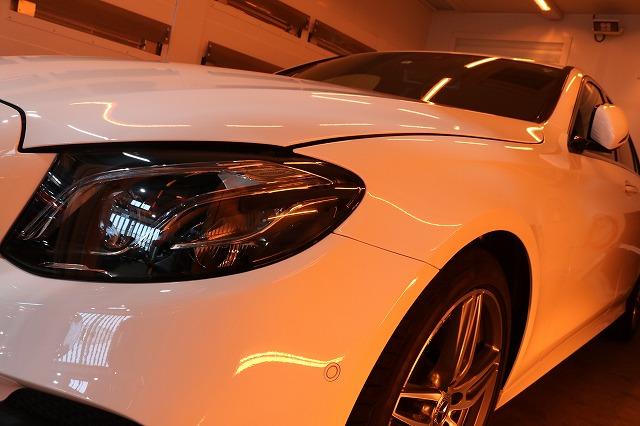 新車メルセデスベンツE220dにカーコーティングを施工 乾燥画像