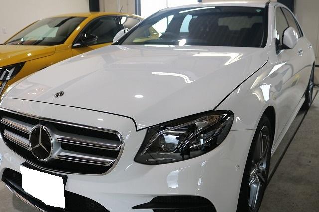 新車メルセデスベンツE220dにカーコーティングを施工後 フロント画像