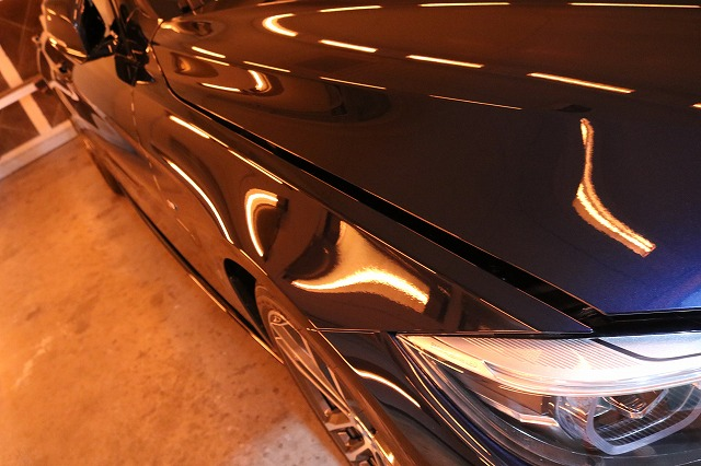 BMW440iへカーコーティング施工 乾燥画像