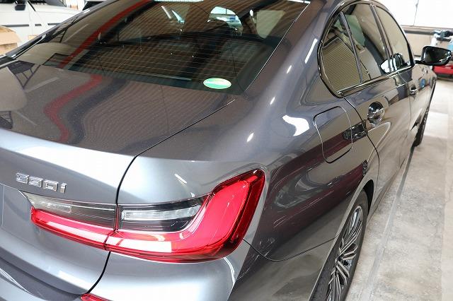 BMW3 カーコーティング セラミックプロ9Hコーティング施工後 リアサイド画像