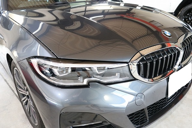 BMW3 カーコーティング セラミックプロ9Hコーティング施工後 フロントサイド画像