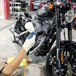 埼玉県よりご来店のハーレーダビットソンにバイクコーティング「CeramicPro9H4層コート」を施工させていただきました。