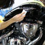 東京都からお越しのスズキブルーバードに『セラミックプロ9H』バイクコーティングを部分施工させていただきました。